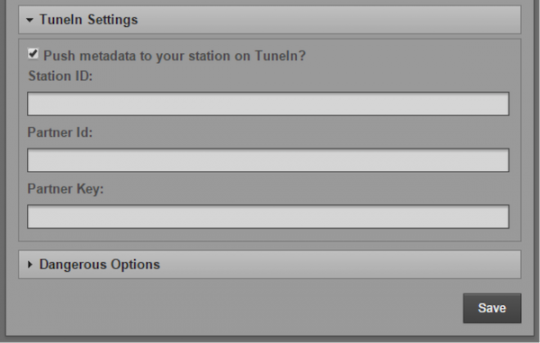 The TuneIn Settings panel, under System->Preferences inside Airtime
