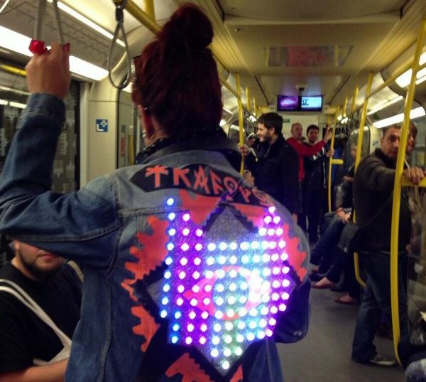 TrafoPop's LED jacket for Radio Hack Day