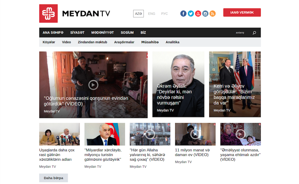 Homepage of Meydan TV