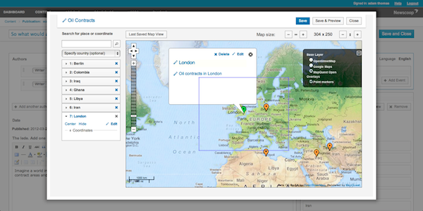 Newscoop 4's revamped geolocation tools. Credit Sourcefabric | CC BY-NC-SA.