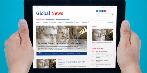 Global News theme tablet view, a clean and fresh, new responsive theme for Newscoop 4.x.