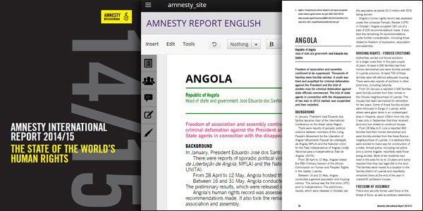 Amnesty International's annual report workflow in open source Booktype | Photo by Sourcefabric (CC BY SA) (Annual report cover photo by Amnesty International )