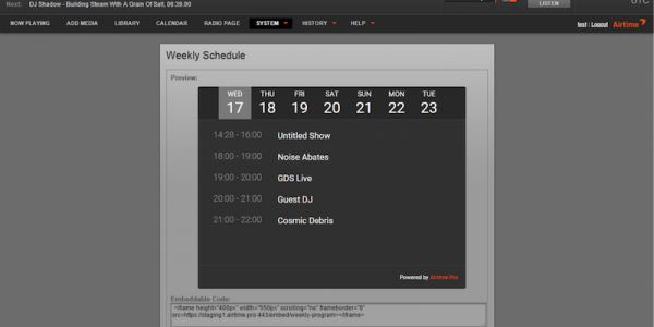 Weekly Schedule Widget on the