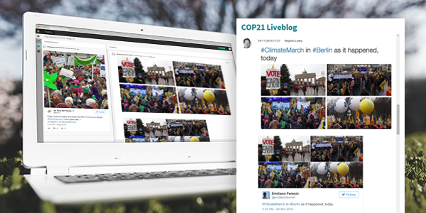 Climate News Mosaic is currently using Live Blog 3.0 to cover the UN climate conference in Paris, France
