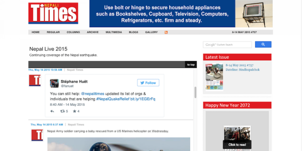 Live Blog in action on Nepali Times home page