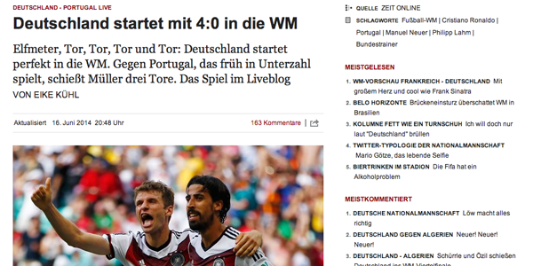 Zeit Online follows the German team at the World Cup, liveblogging from Brazil and Berlin