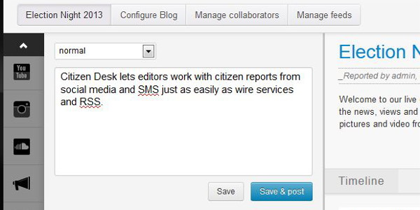 Screenshot of Live Blog input and edit