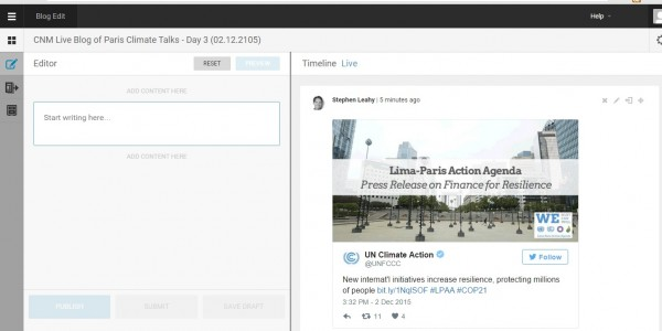 User interface of Climate News Mosaic Live Blog